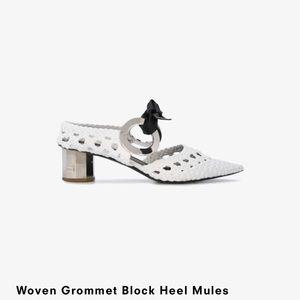 Proenza Woven Grommet Block Heel Mules